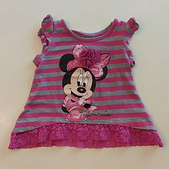 Disney Other - Disney Minnie Mouse gray pink tank top 12 months